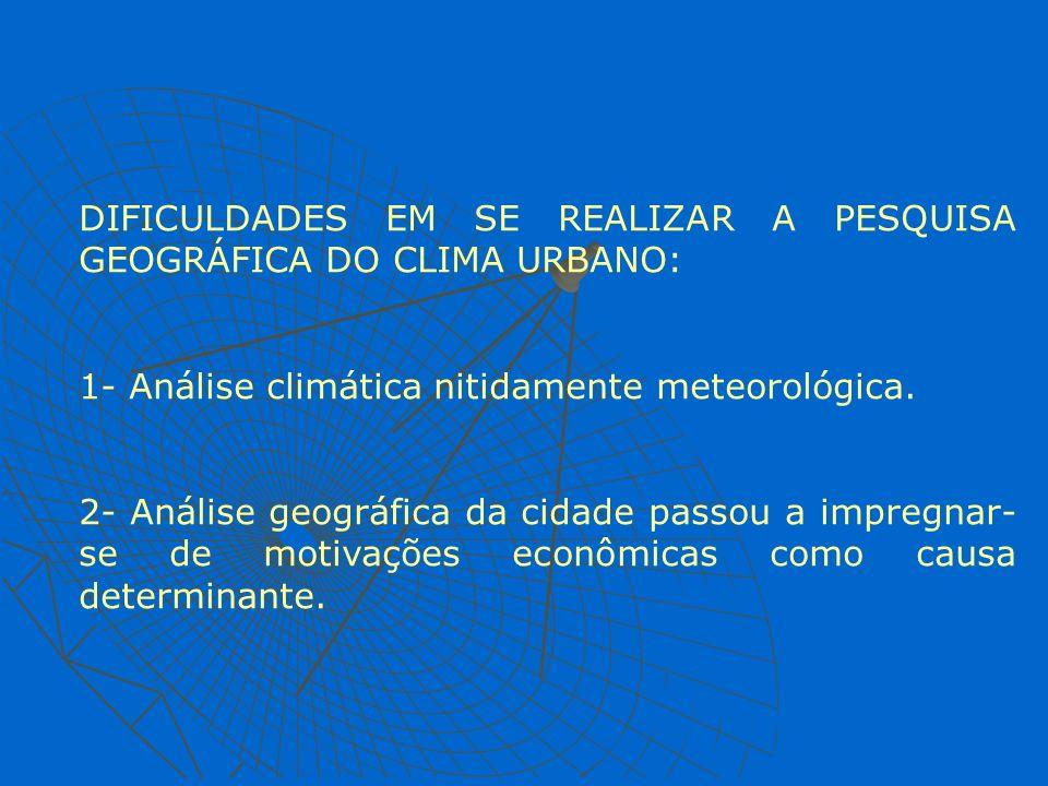 DIFICULDADES EM SE REALIZAR A PESQUISA GEOGRÁFICA DO CLIMA URBANO: 1- Análise climática nitidamente meteorológica. 2- Análise geográfica da cidade pas