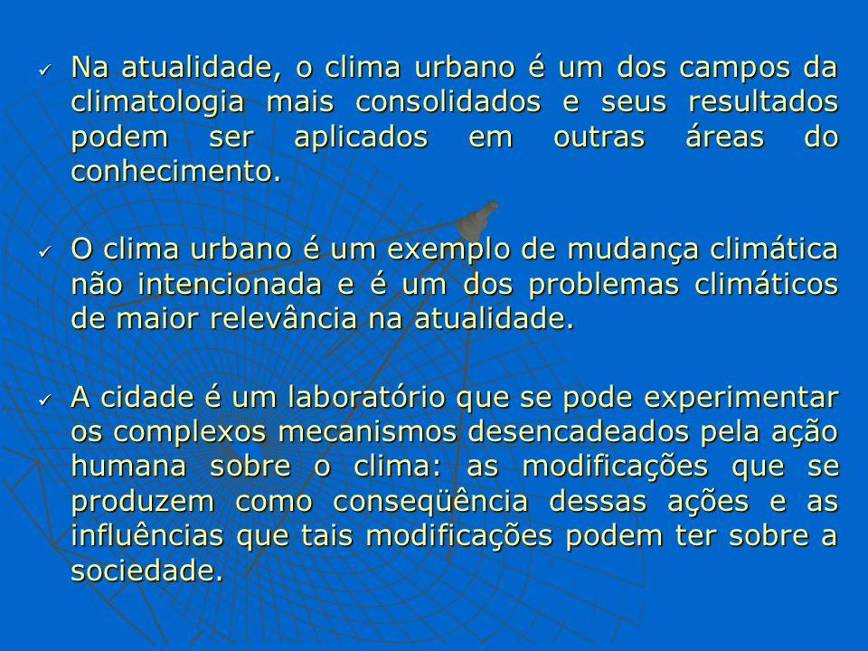 Na atualidade, o clima urbano é um dos campos da climatologia mais consolidados e seus resultados podem ser aplicados em outras áreas do conhecimento.