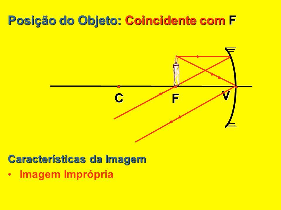 Posição do Objeto: Entre C e F Posição da Imagem Antes do ponto C Características da Imagem Real MAIOR que o objeto Invertida V C F