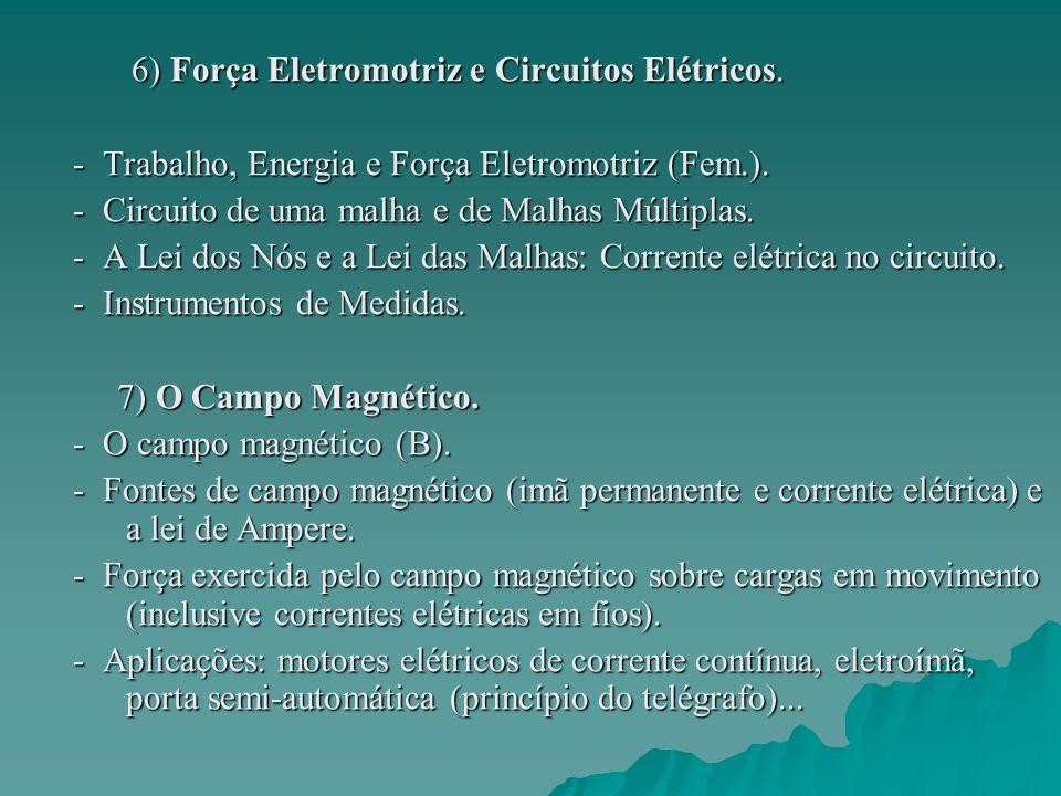 6) Força Eletromotriz e Circuitos Elétricos. 6) Força Eletromotriz e Circuitos Elétricos. - Trabalho, Energia e Força Eletromotriz (Fem.). - Trabalho,