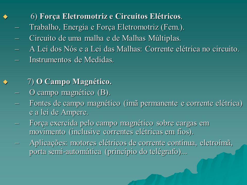 8) A Lei de Indução de Faraday-Lenz.8) A Lei de Indução de Faraday-Lenz.