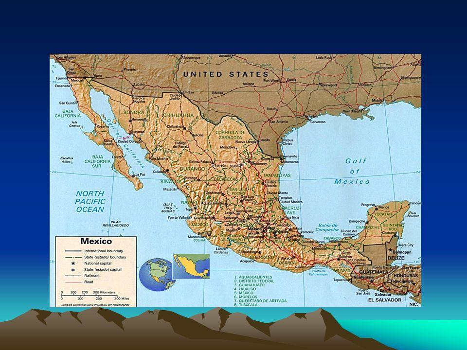 MÉXICO Formação do México: -Astecas,Toltecas, e Maias; - Astecas fundam Tenochtitlán(atual Cidade do México)-1325, astecas dominavam os outros povos da região; - Chegada dos espanhóis; - Domínio espanhol sobre os povos pré- colombianos, através de Hernan Cortez; -México integra o Vice-Reino da Nova Espanha(exploração da prata )