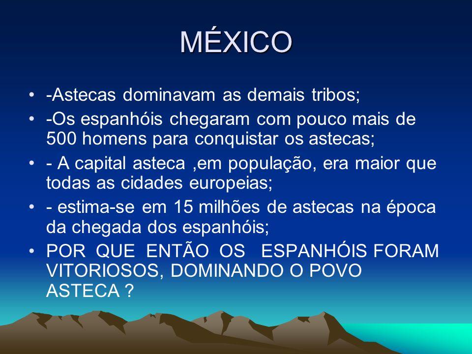 MÉXICO Cavalo e armas de fogo, apesar em pequeno número, eram novidade; -doenças como gripe, varíola,etc, transmitidas pelos espanhóis que dizimaram milhares de astecas, pois eles tão tinham imunidade contra tais doenças; - Os espanhóis se aliaram a outras tribos que eram dominadas pelos astecas.