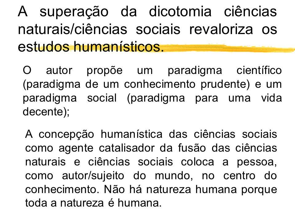 A superação da dicotomia ciências naturais/ciências sociais revaloriza os estudos humanísticos. O autor propõe um paradigma científico (paradigma de u