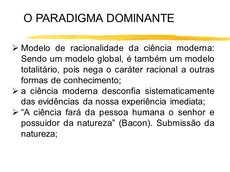 Modelo de racionalidade da ciência moderna: Sendo um modelo global, é também um modelo totalitário, pois nega o caráter racional a outras formas de co