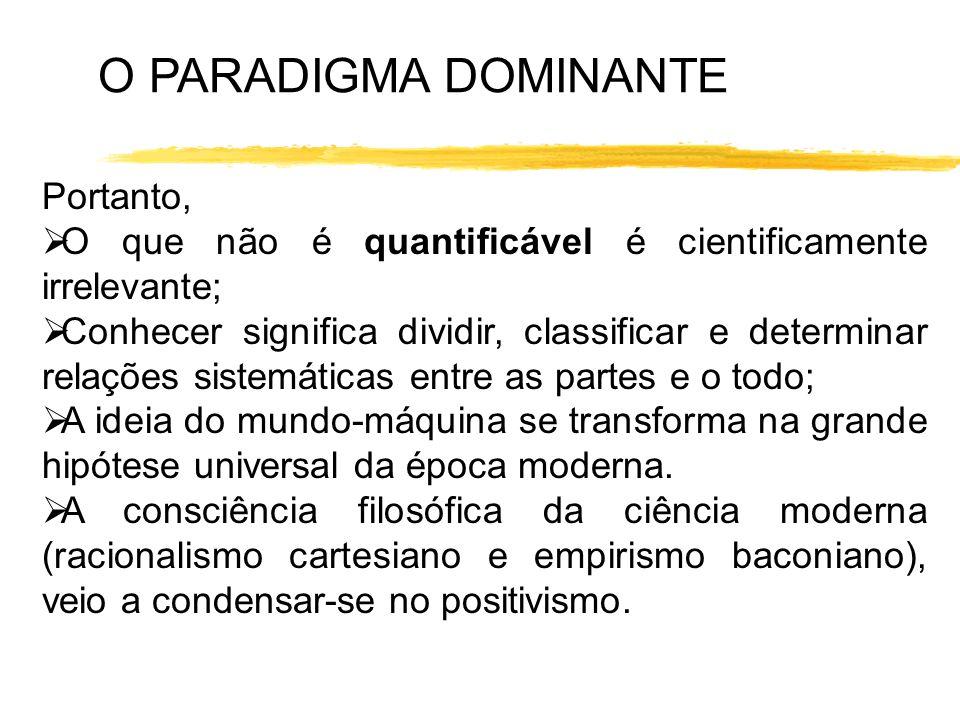 O PARADIGMA DOMINANTE Portanto, O que não é quantificável é cientificamente irrelevante; Conhecer significa dividir, classificar e determinar relações