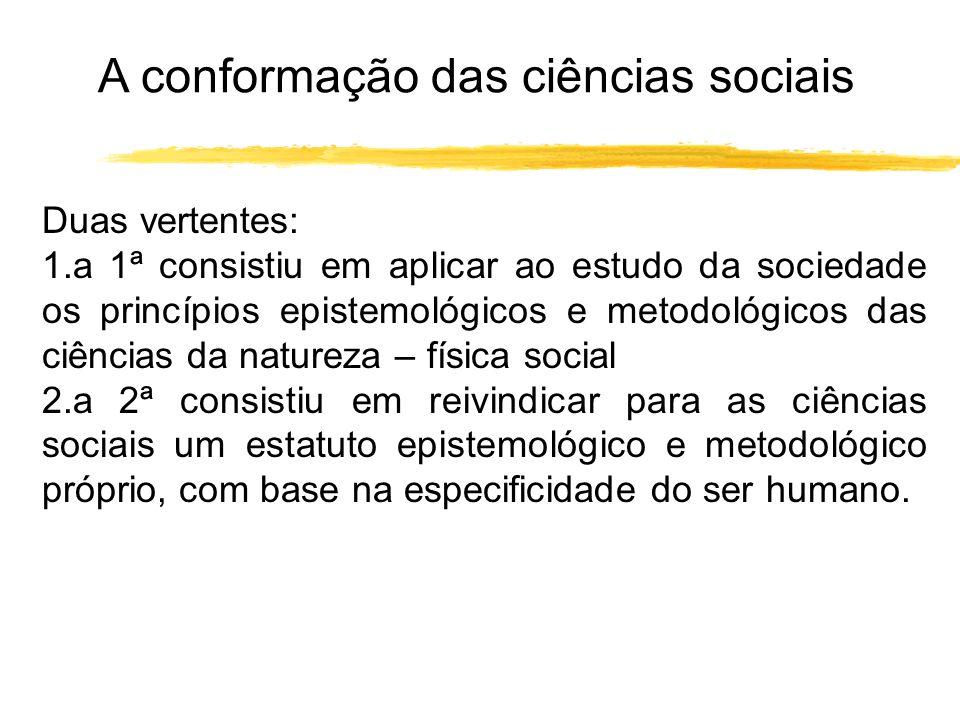 A conformação das ciências sociais Duas vertentes: 1.a 1ª consistiu em aplicar ao estudo da sociedade os princípios epistemológicos e metodológicos da