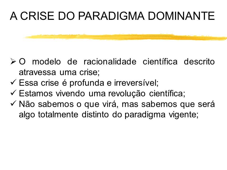 A CRISE DO PARADIGMA DOMINANTE O modelo de racionalidade científica descrito atravessa uma crise; Essa crise é profunda e irreversível; Estamos vivend