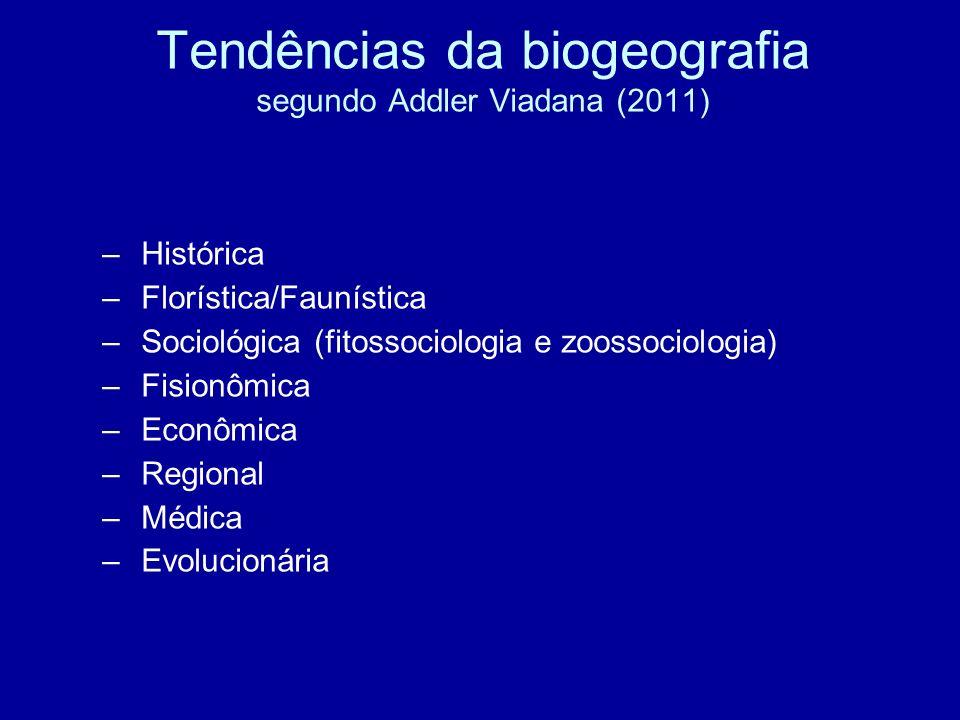– Histórica – Florística/Faunística – Sociológica (fitossociologia e zoossociologia) – Fisionômica – Econômica – Regional – Médica – Evolucionária Ten