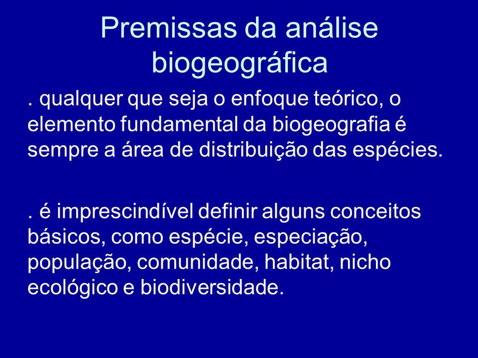 Premissas da análise biogeográfica. qualquer que seja o enfoque teórico, o elemento fundamental da biogeografia é sempre a área de distribuição das es