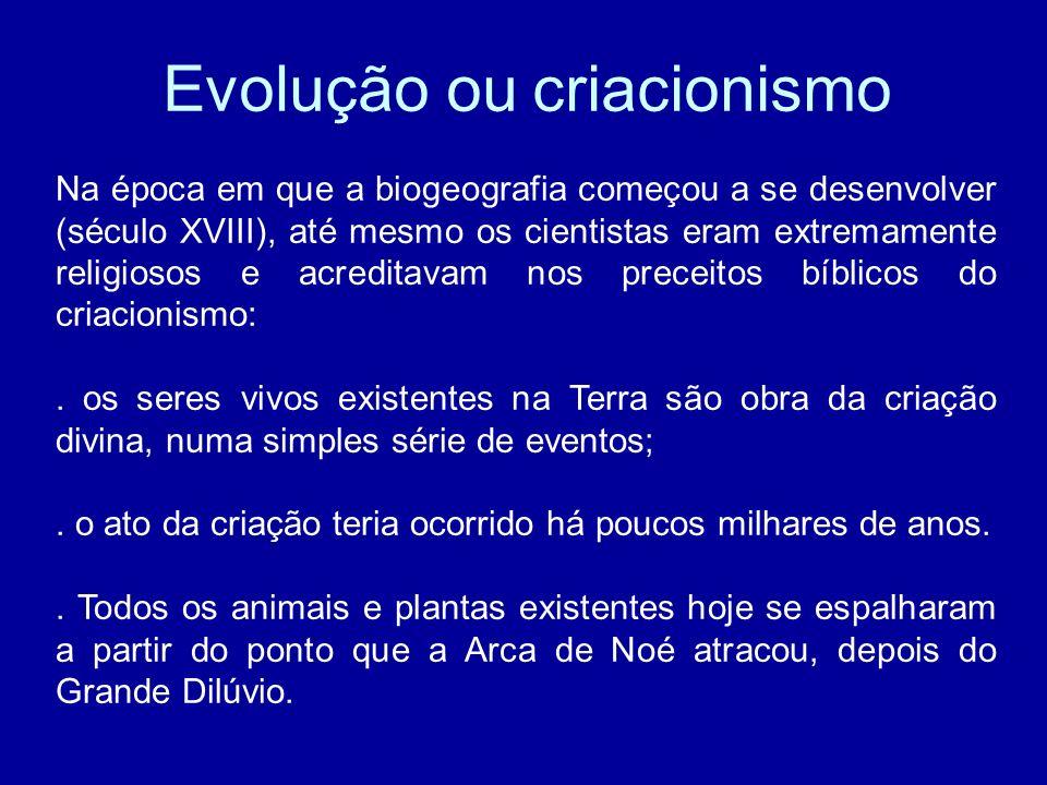 Evolução ou criacionismo Na época em que a biogeografia começou a se desenvolver (século XVIII), até mesmo os cientistas eram extremamente religiosos