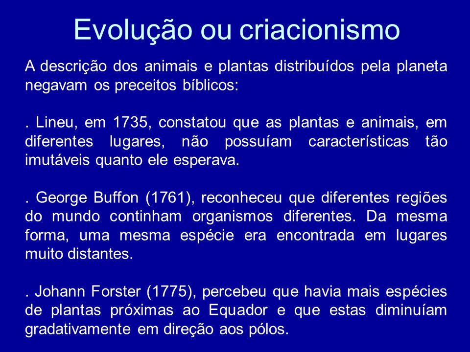 Evolução ou criacionismo A descrição dos animais e plantas distribuídos pela planeta negavam os preceitos bíblicos:. Lineu, em 1735, constatou que as