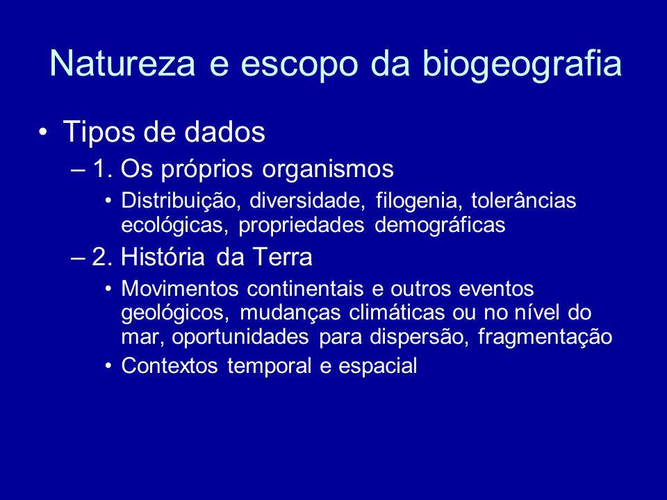 Tipos de dados –1. Os próprios organismos Distribuição, diversidade, filogenia, tolerâncias ecológicas, propriedades demográficas –2. História da Terr