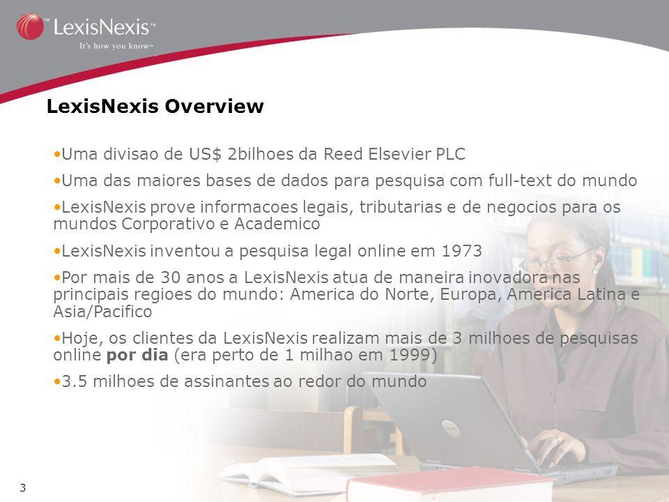 LexisNexis Overview Uma divisao de US$ 2bilhoes da Reed Elsevier PLC Uma das maiores bases de dados para pesquisa com full-text do mundo LexisNexis pr