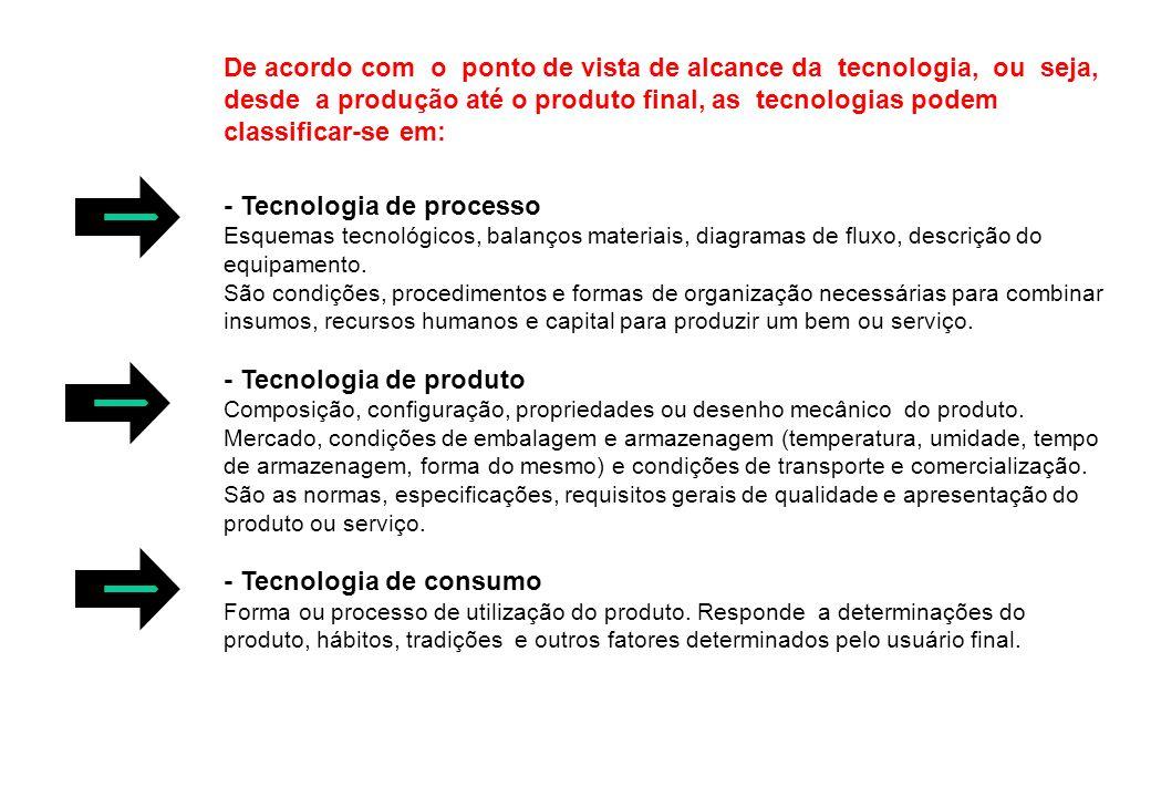 De acordo com o ponto de vista de alcance da tecnologia, ou seja, desde a produção até o produto final, as tecnologias podem classificar-se em: - Tecn