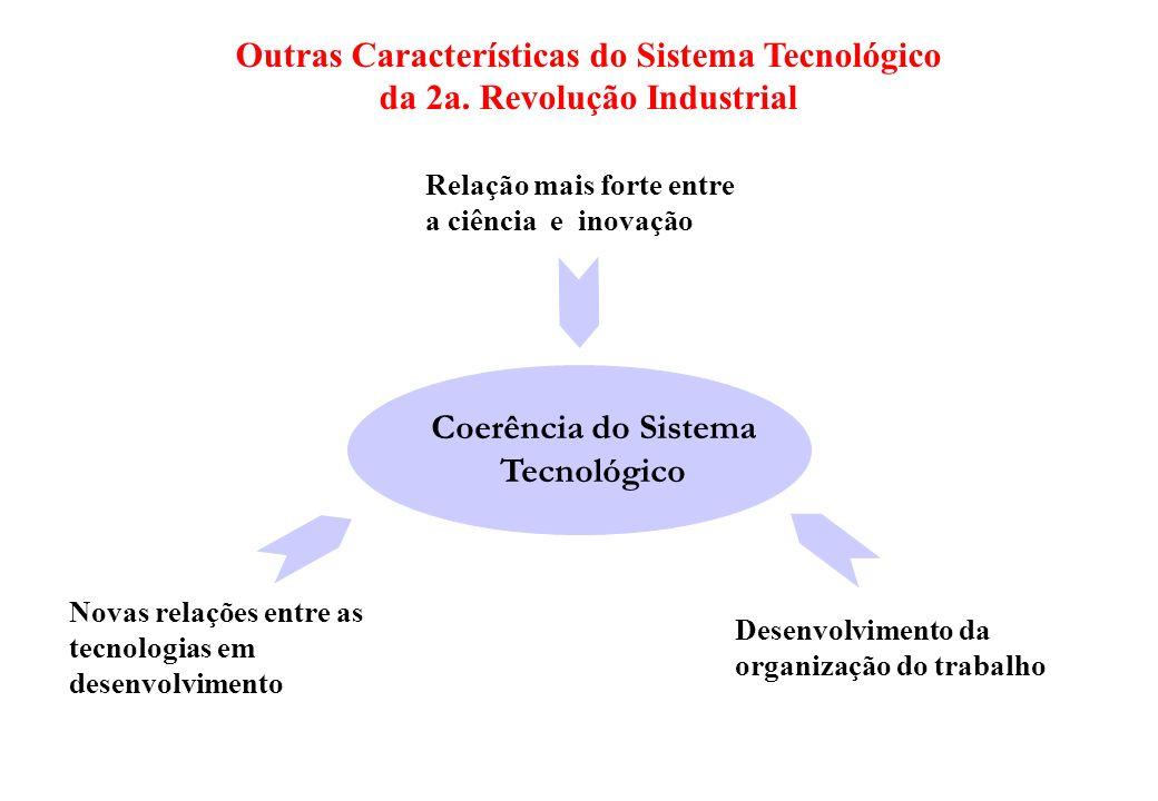 Outras Características do Sistema Tecnológico da 2a. Revolução Industrial Coerência do Sistema Tecnológico Relação mais forte entre a ciência e inovaç