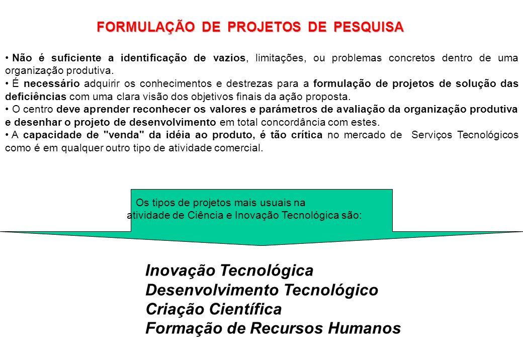 Os tipos de projetos mais usuais na atividade de Ciência e Inovação Tecnológica são: Inovação Tecnológica Desenvolvimento Tecnológico Criação Científi