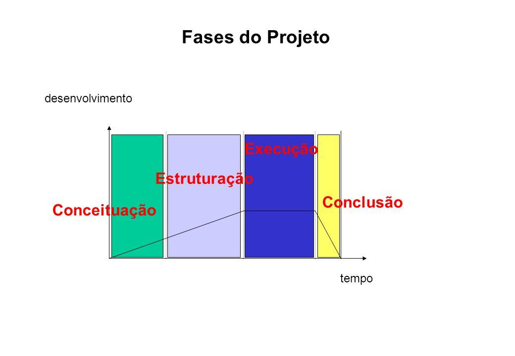 tempo Conceituação Estruturação Execução Conclusão desenvolvimento Fases do Projeto