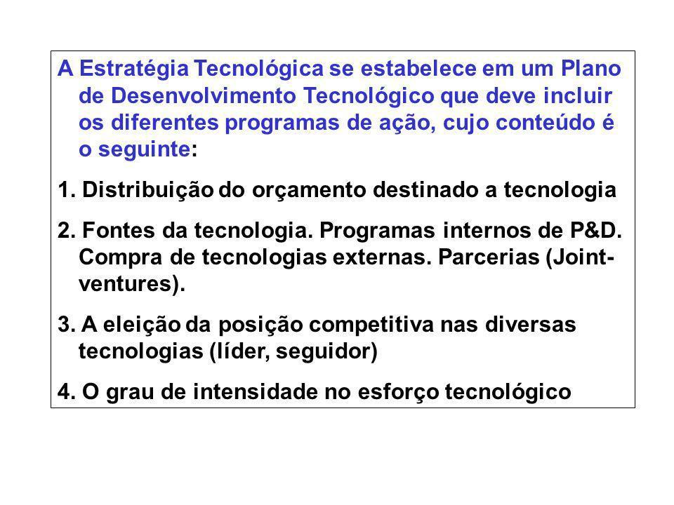 A Estratégia Tecnológica se estabelece em um Plano de Desenvolvimento Tecnológico que deve incluir os diferentes programas de ação, cujo conteúdo é o