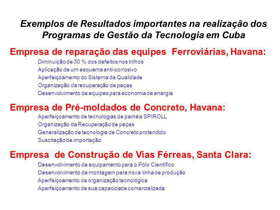 Exemplos de Resultados importantes na realização dos Programas de Gestão da Tecnologia em Cuba Empresa de reparação das equipes Ferroviárias, Havana: