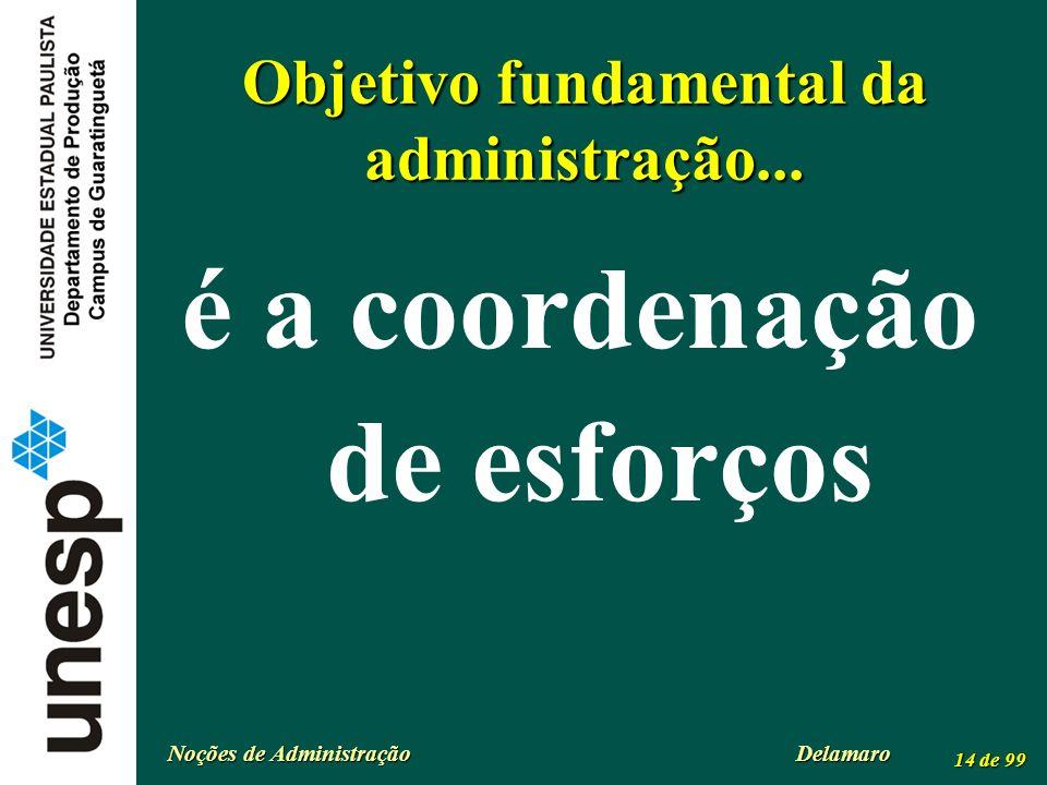 Noções de Administração Delamaro 14 de 99 Objetivo fundamental da administração... é a coordenação de esforços