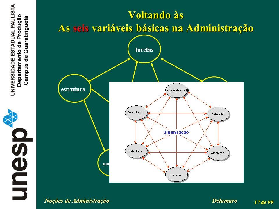 Noções de Administração Delamaro 17 de 99 Voltando às As seis variáveis básicas na Administração tarefas organização tecnologia pessoasestrutura ambie