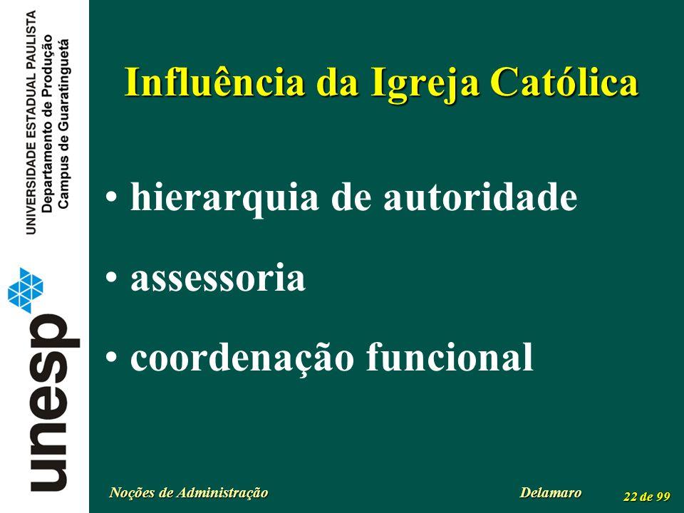 Noções de Administração Delamaro 22 de 99 Influência da Igreja Católica hierarquia de autoridade assessoria coordenação funcional