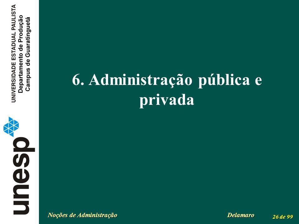 Noções de Administração Delamaro 26 de 99 6. Administração pública e privada