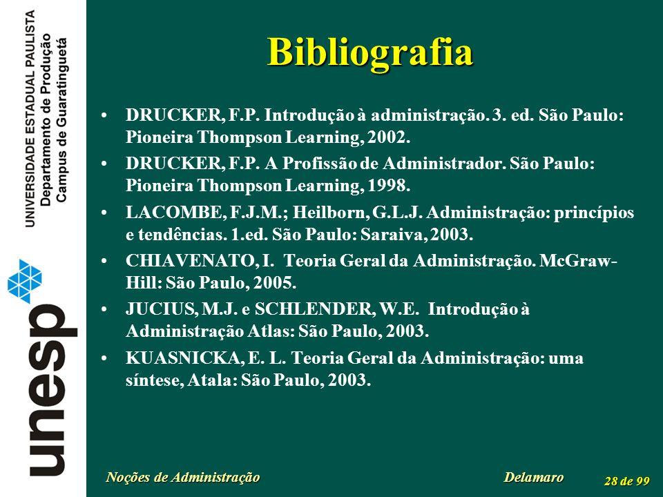 Noções de Administração Delamaro 28 de 99 Bibliografia DRUCKER, F.P. Introdução à administração. 3. ed. São Paulo: Pioneira Thompson Learning, 2002. D