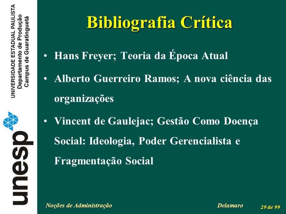 Noções de Administração Delamaro 29 de 99 Bibliografia Crítica Hans Freyer; Teoria da Época Atual Alberto Guerreiro Ramos; A nova ciência das organiza