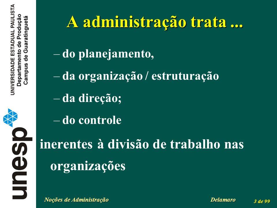 Noções de Administração Delamaro 3 de 99 A administração trata... –do planejamento, –da organização / estruturação –da direção; –do controle inerentes