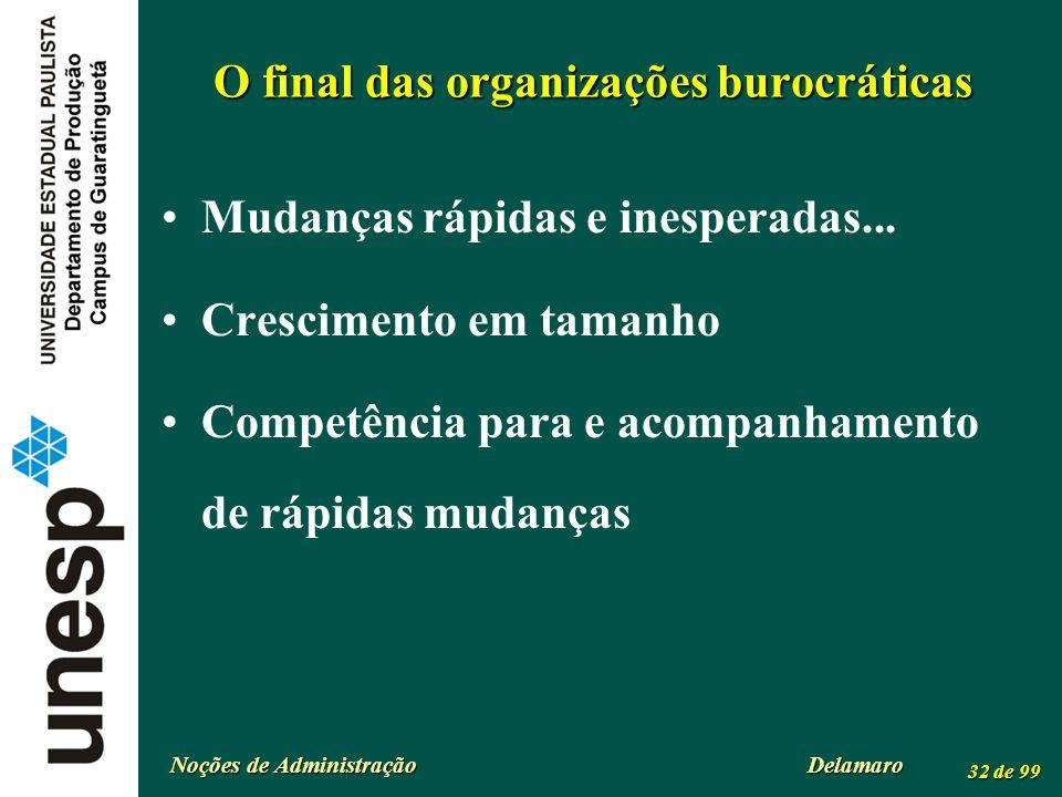 Noções de Administração Delamaro 32 de 99 O final das organizações burocráticas Mudanças rápidas e inesperadas... Crescimento em tamanho Competência p