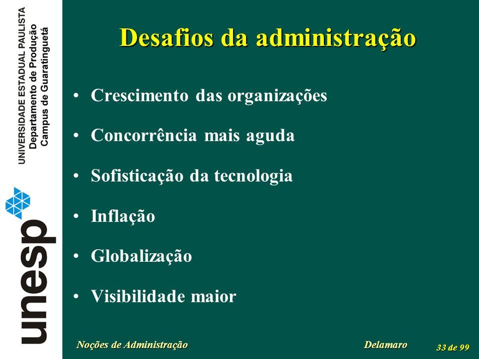 Noções de Administração Delamaro 33 de 99 Desafios da administração Crescimento das organizações Concorrência mais aguda Sofisticação da tecnologia In