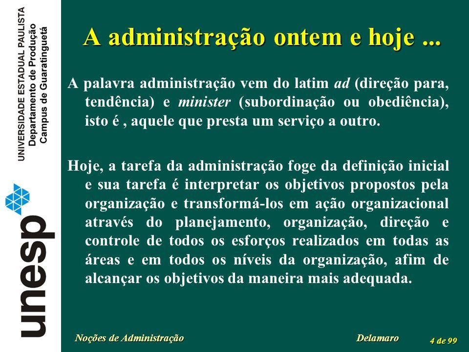 Noções de Administração Delamaro 4 de 99 A administração ontem e hoje... A palavra administração vem do latim ad (direção para, tendência) e minister