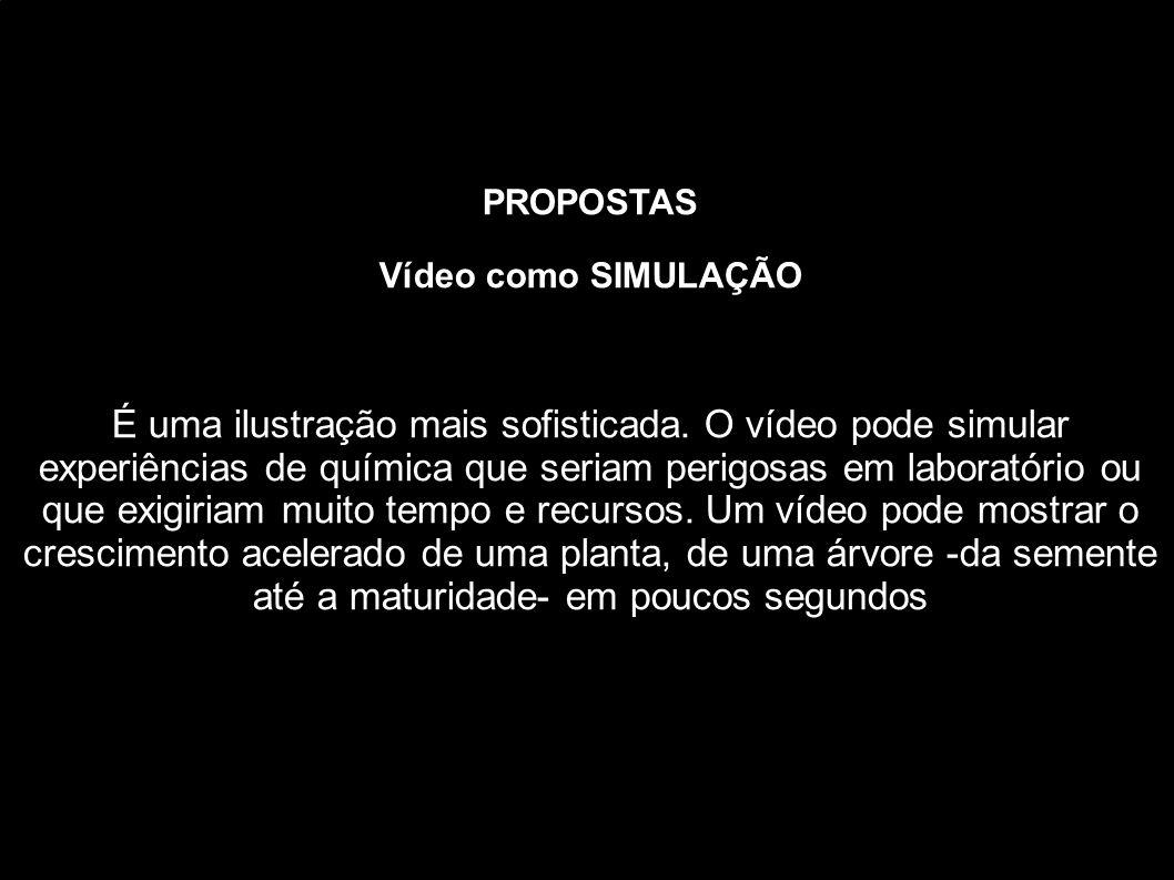 PROPOSTAS Vídeo como SIMULAÇÃO É uma ilustração mais sofisticada. O vídeo pode simular experiências de química que seriam perigosas em laboratório ou