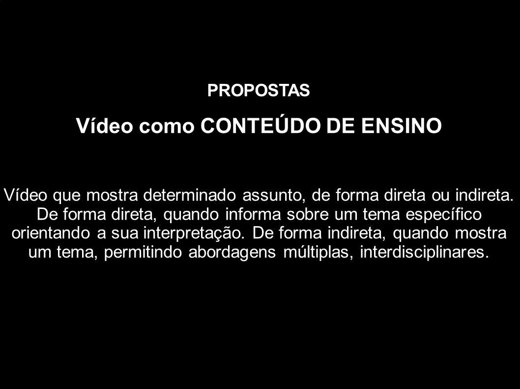 PROPOSTAS Vídeo como CONTEÚDO DE ENSINO Vídeo que mostra determinado assunto, de forma direta ou indireta. De forma direta, quando informa sobre um te