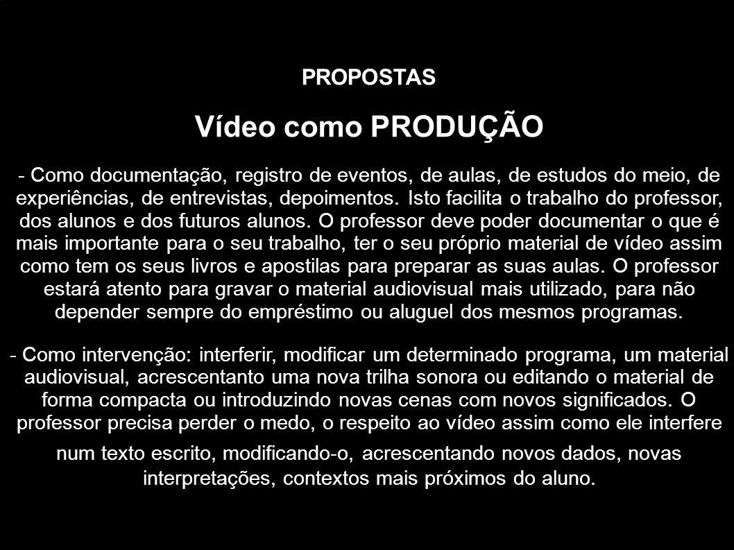 PROPOSTAS Vídeo como PRODUÇÃO - Como documentação, registro de eventos, de aulas, de estudos do meio, de experiências, de entrevistas, depoimentos. Is