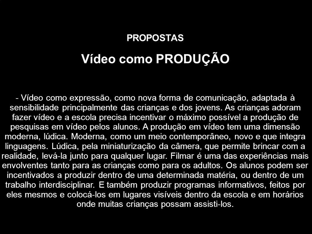 PROPOSTAS Vídeo como PRODUÇÃO - Vídeo como expressão, como nova forma de comunicação, adaptada à sensibilidade principalmente das crianças e dos joven