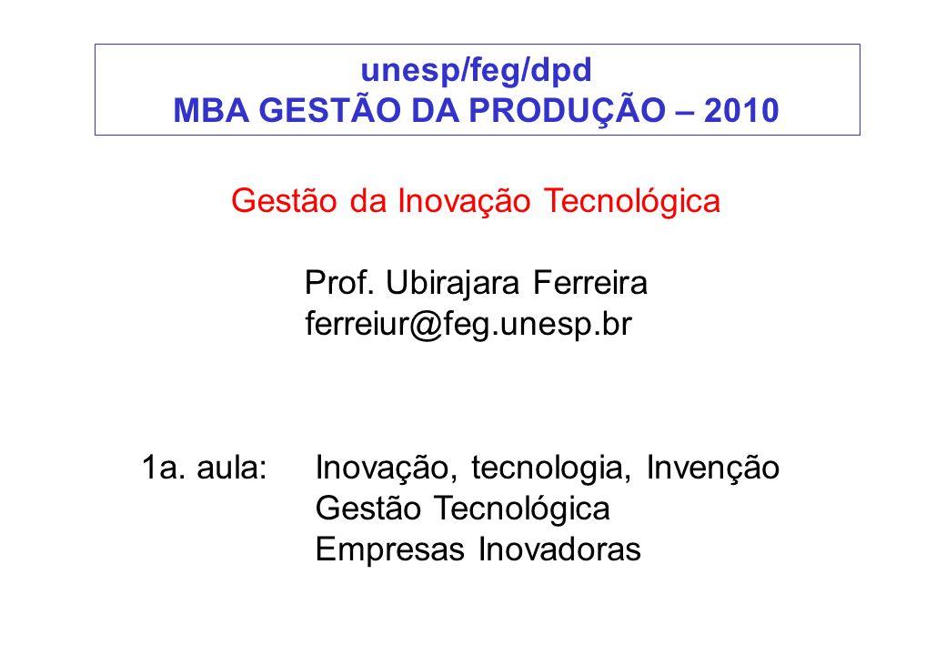 Gestão da Inovação Tecnológica Prof. Ubirajara Ferreira ferreiur@feg.unesp.br unesp/feg/dpd MBA GESTÃO DA PRODUÇÃO – 2010 1a. aula:Inovação, tecnologi
