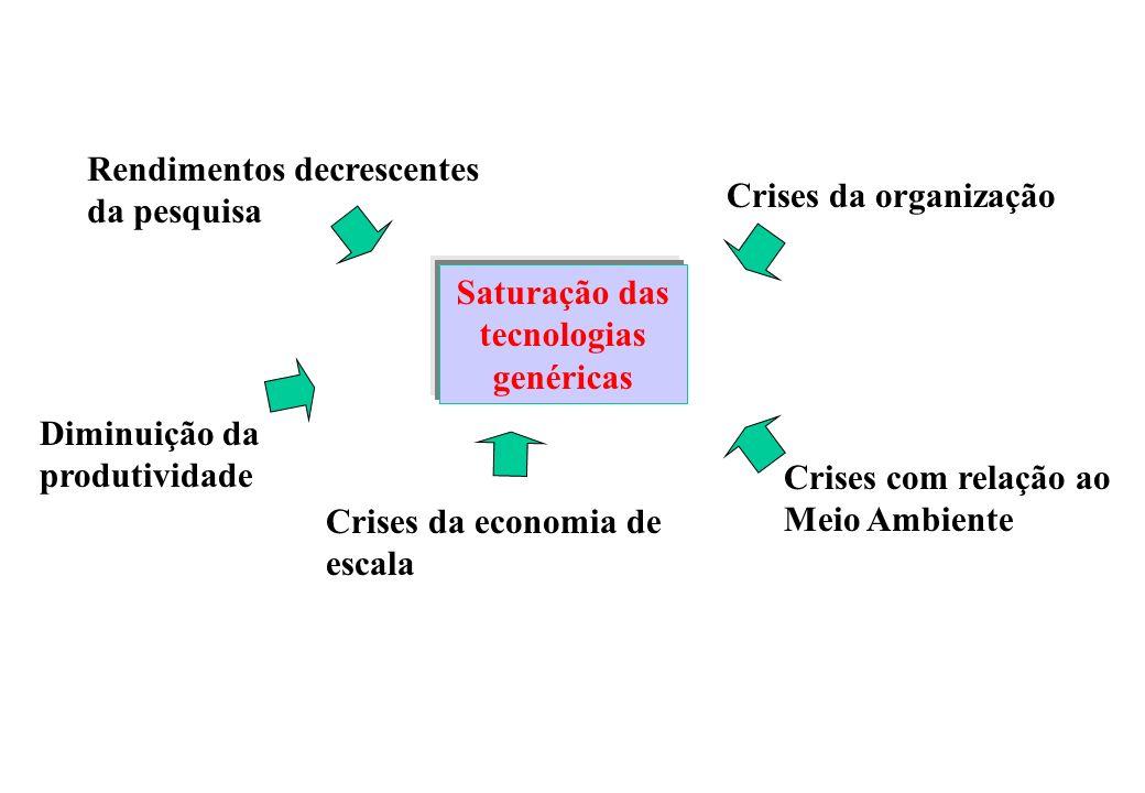 Saturação das tecnologias genéricas Rendimentos decrescentes da pesquisa Diminuição da produtividade Crises da economia de escala Crises com relação ao Meio Ambiente Crises da organização