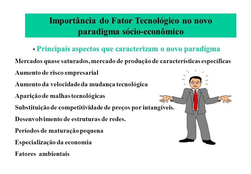 Importância do Fator Tecnológico no novo paradigma sócio-econômico Principais aspectos que caracterizam o novo paradigma Mercados quase saturados, mer
