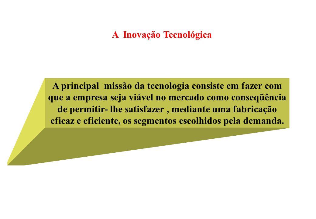 A Inovação Tecnológica A principal missão da tecnologia consiste em fazer com que a empresa seja viável no mercado como conseqüência de permitir- lhe