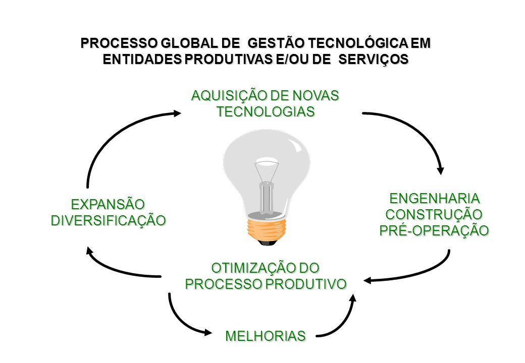 AQUISIÇÃO DE NOVAS TECNOLOGIAS EXPANSÃO DIVERSIFICAÇÃO OTIMIZAÇÃO DO PROCESSO PRODUTIVO ENGENHARIA CONSTRUÇÃO PRÉ-OPERAÇÃO MELHORIAS PROCESSO GLOBAL D
