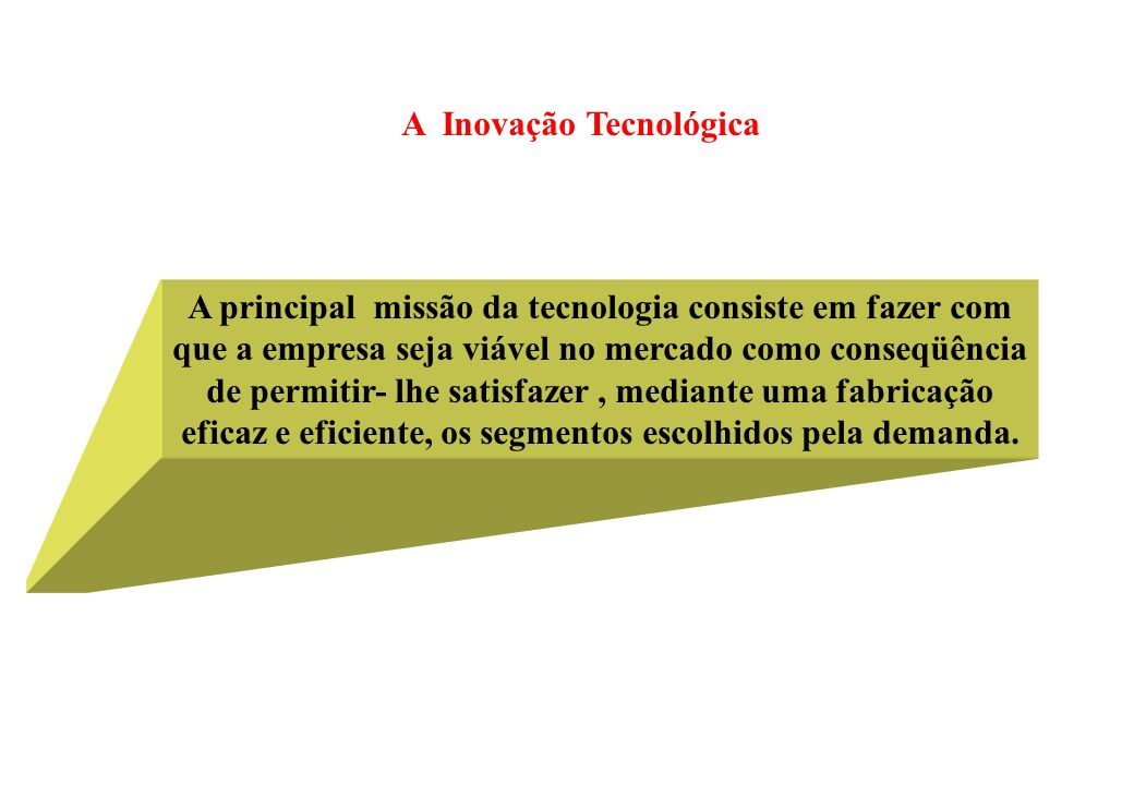 A Inovação Tecnológica A principal missão da tecnologia consiste em fazer com que a empresa seja viável no mercado como conseqüência de permitir- lhe satisfazer, mediante uma fabricação eficaz e eficiente, os segmentos escolhidos pela demanda.