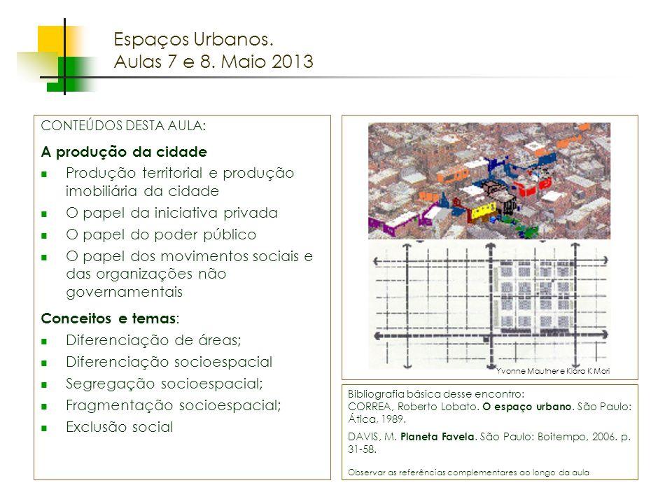 Espaços livres em megacidades Espaços Urbanos. Aulas 7 e 8. Maio 2013 Bibliografia básica desse encontro: CORREA, Roberto Lobato. O espaço urbano. São