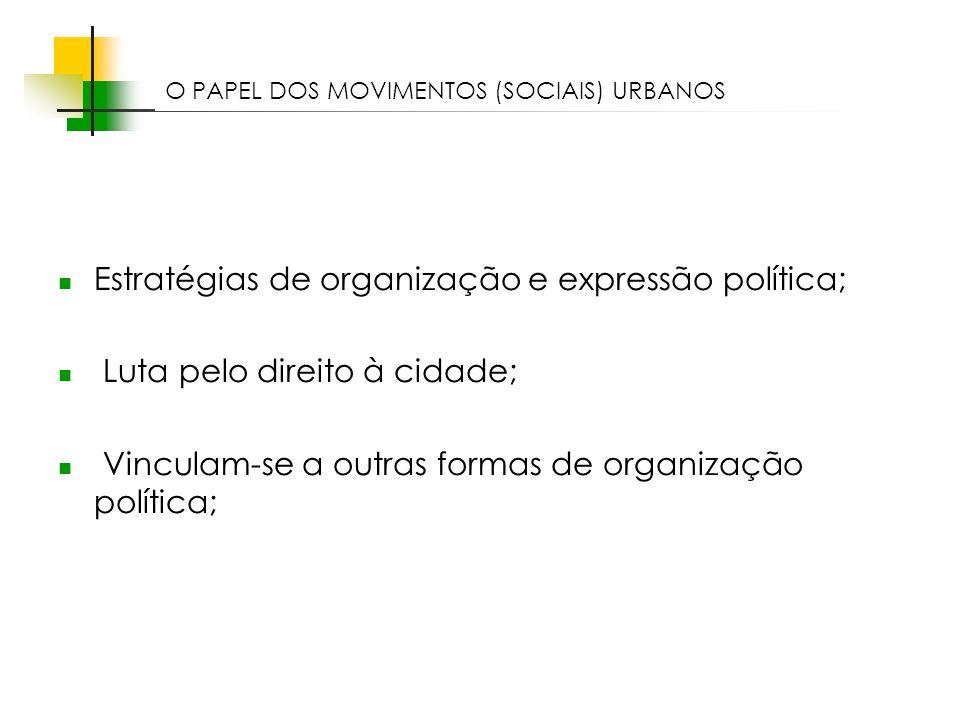 Espaços livres em megacidades Estratégias de organização e expressão política; Luta pelo direito à cidade; Vinculam-se a outras formas de organização