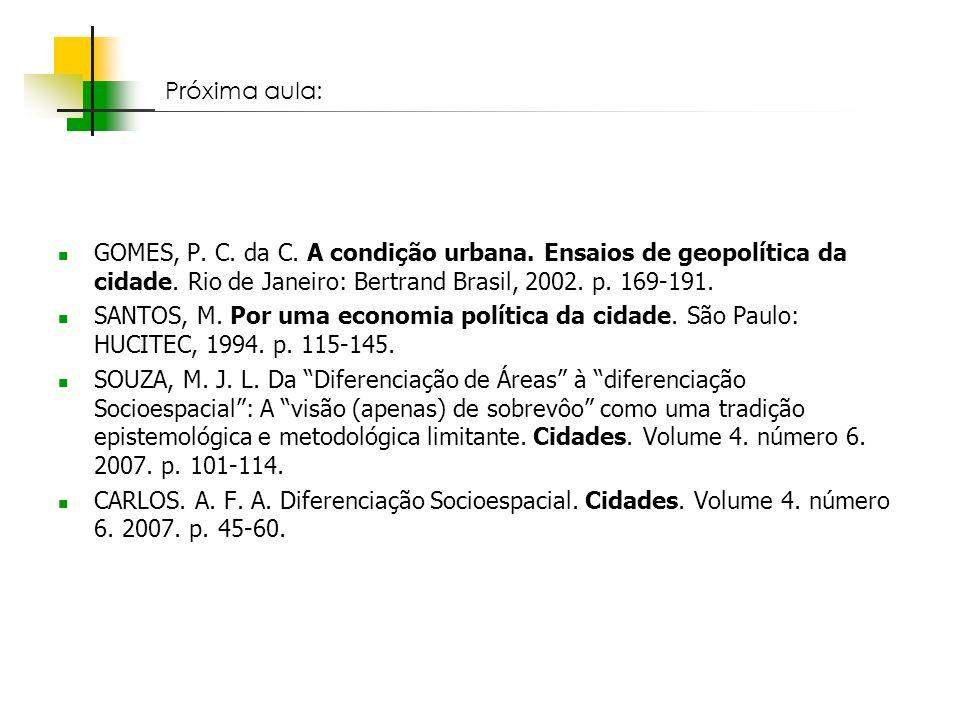 Espaços livres em megacidades GOMES, P. C. da C. A condição urbana. Ensaios de geopolítica da cidade. Rio de Janeiro: Bertrand Brasil, 2002. p. 169-19