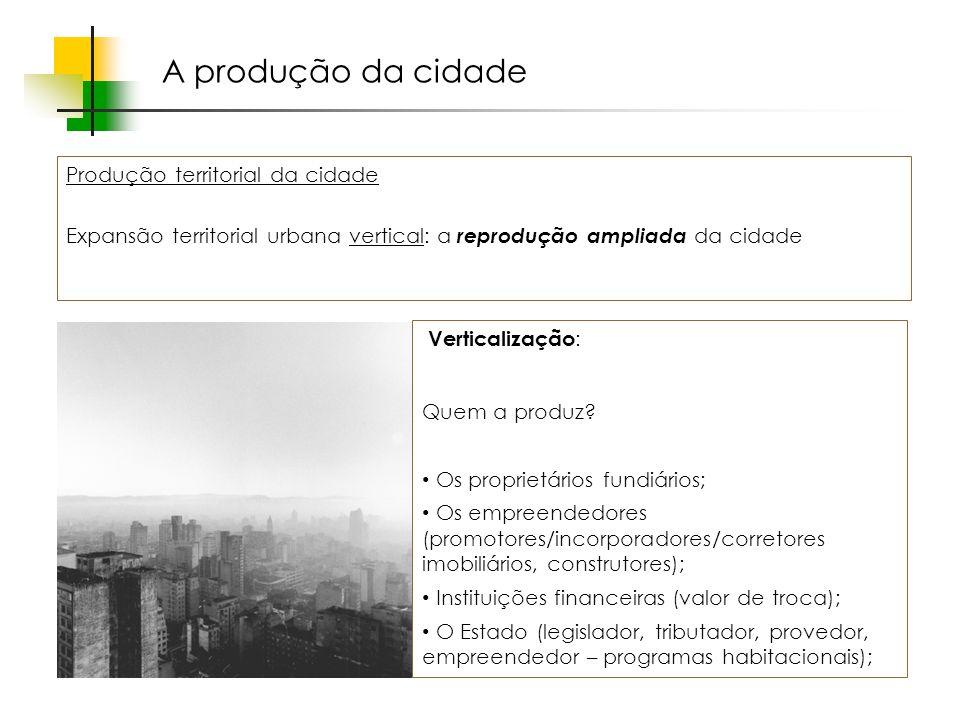 Espaços livres em megacidades A produção da cidade Produção territorial da cidade Expansão territorial urbana vertical: a reprodução ampliada da cidade Verticalização : Por que a produzem.