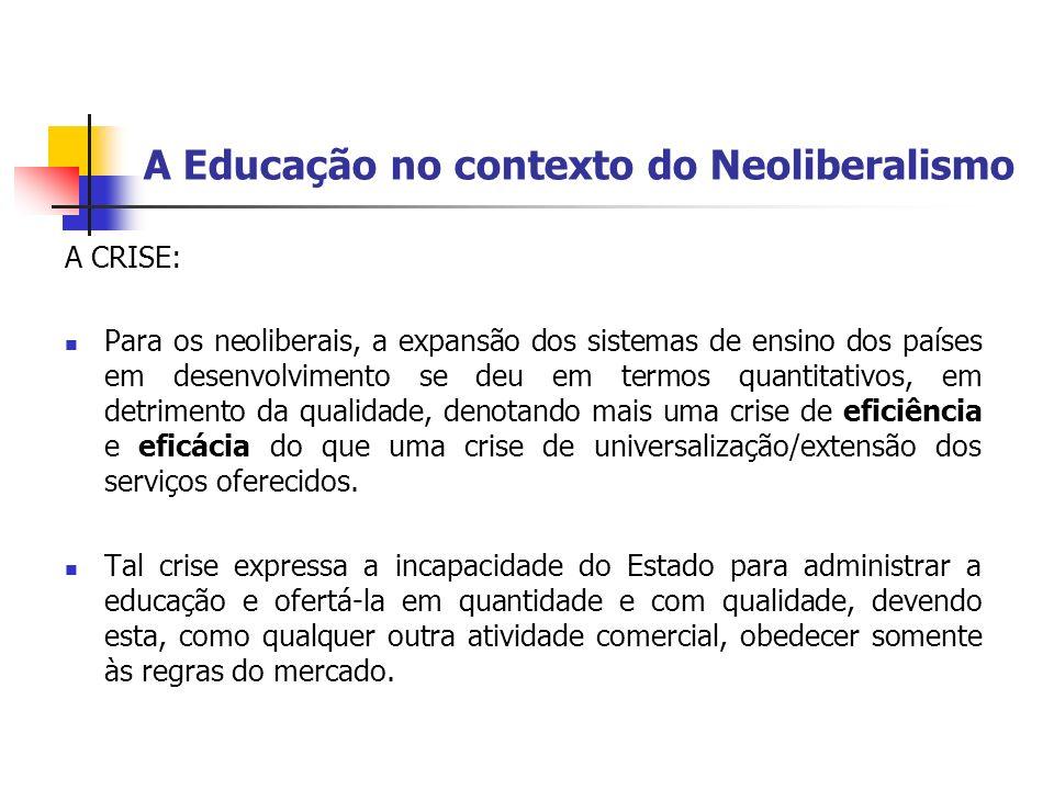 A Educação no contexto do Neoliberalismo A CRISE: Para os neoliberais, a expansão dos sistemas de ensino dos países em desenvolvimento se deu em termo