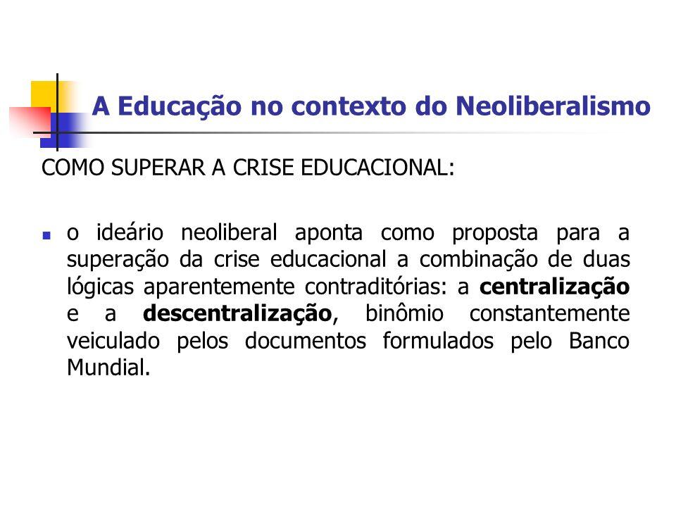 A Educação no contexto do Neoliberalismo COMO SUPERAR A CRISE EDUCACIONAL: o ideário neoliberal aponta como proposta para a superação da crise educaci